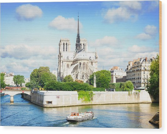 Notre Dame Cathedral, Paris France Wood Print