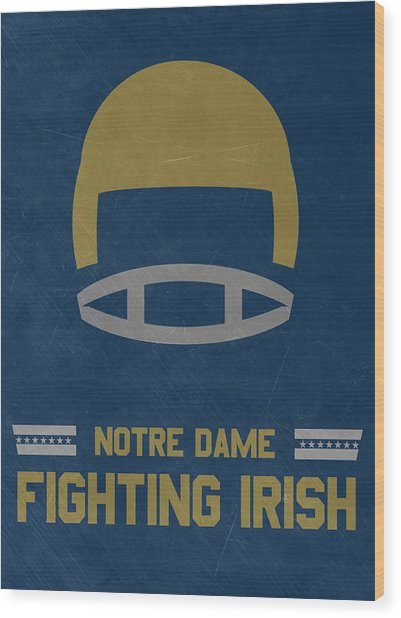 Notre Dame Fighting Irish Vintage Football Art Wood Print