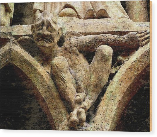 Notre Dame Gargoyle - Paris Wood Print by Jen White