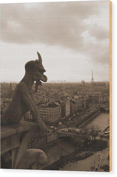 Notre Dame Gargoyle Over Paris Wood Print