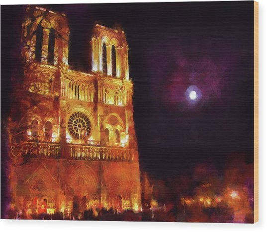 Notre Dame In The Autumn Moonlight Wood Print