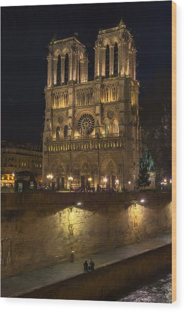 Notre Dame Night Painterly Wood Print