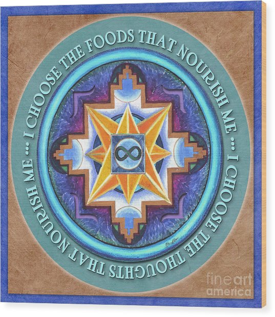 Nourish Mandala Prayer Wood Print