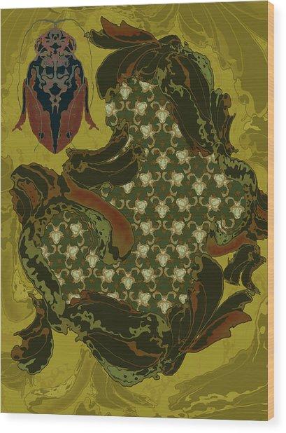 Nouveau Water Beetle Wood Print