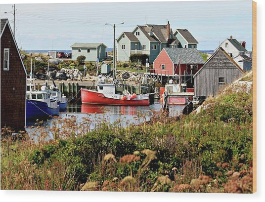 Nova Scotia Fishing Community Wood Print
