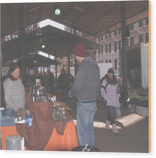 November Farmers Market Lowertown Wood Print by Janis Beauchamp