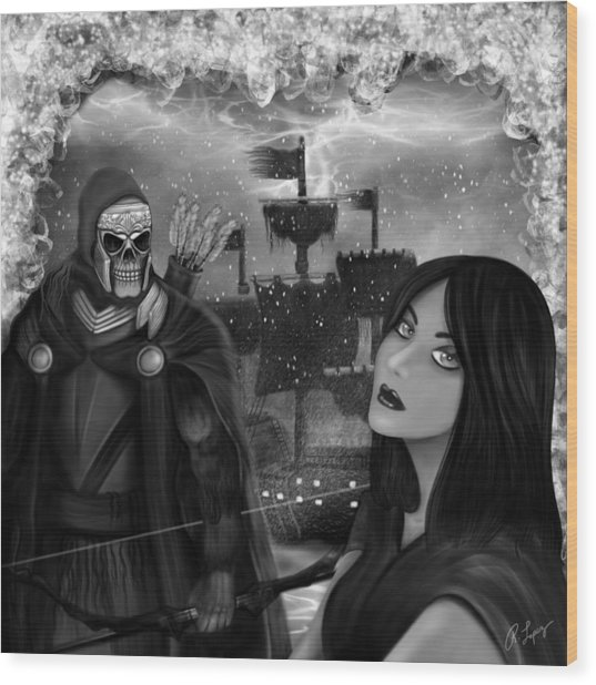 Now Or Never - Black And White Fantasy Art Wood Print