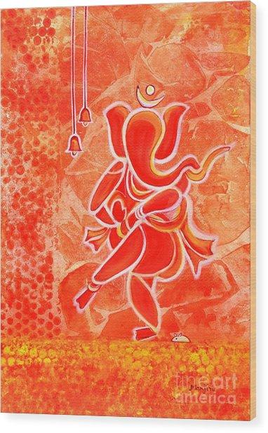 Nritya Ganesha- Dancing God Wood Print