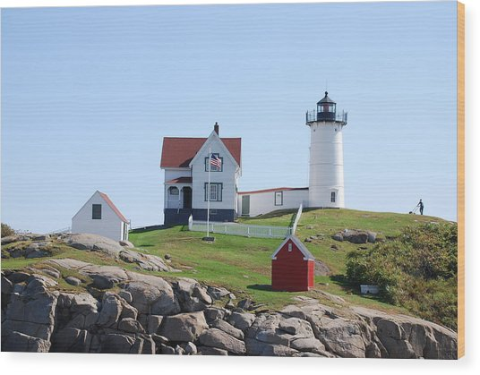 Nubble Light Wood Print by Armand Hebert