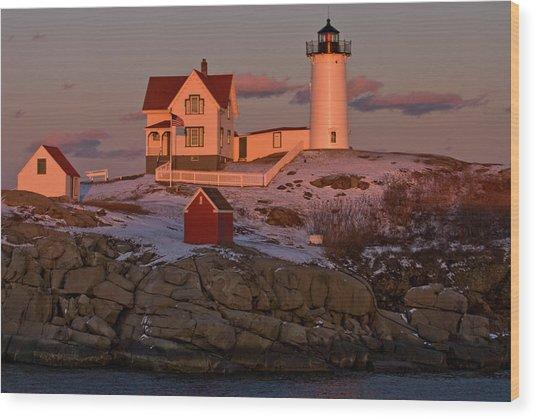Nubble Light At Sunset Wood Print