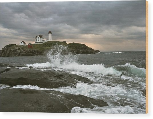 Nubble Light In A Storm Wood Print