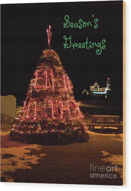 Nubble Light - Season's Greetings Wood Print