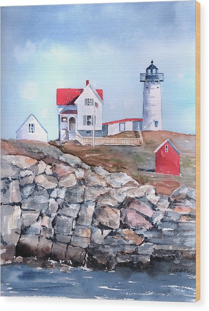 Nubble Lighthouse - Maine Wood Print