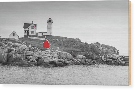 Nubble Lighthouse In Color And Black And White Wood Print