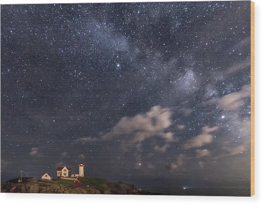 Nubble Lighthouse Under The Milky Way Wood Print