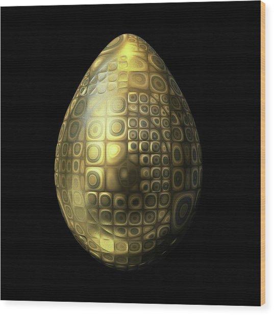 Nubbled Golden Egg Wood Print