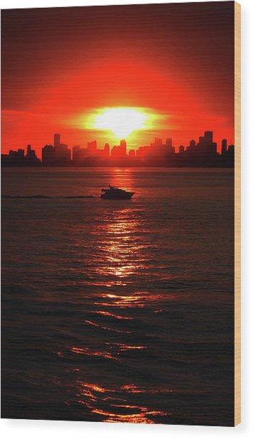 Nuclear Miami Sunset Wood Print