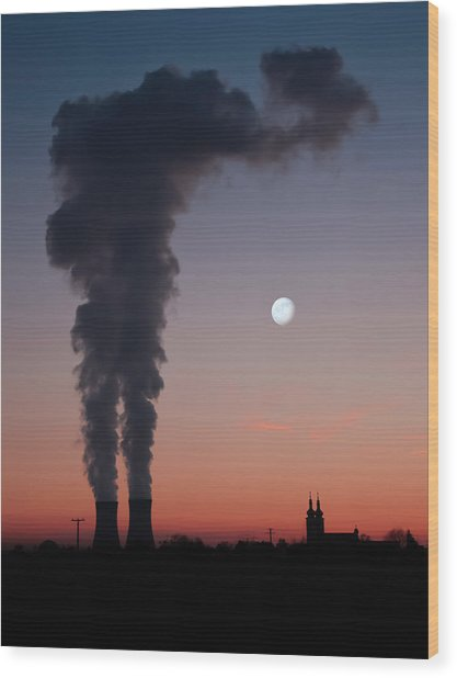 Nuclear Power Station In Bavaria Wood Print by Michael Kohaupt