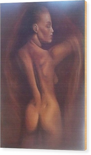 Nude 1 Wood Print by Elizabeth Silk