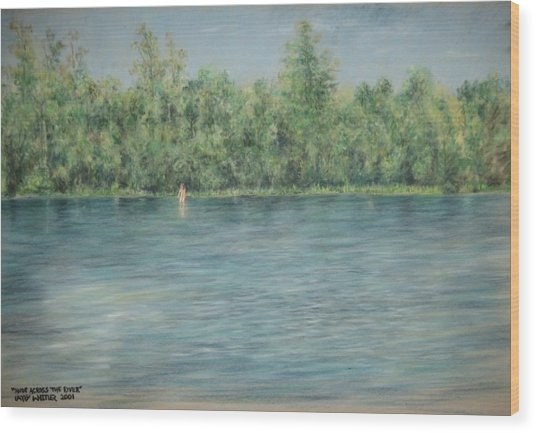 Nude Across The River Wood Print by Larry Whitler