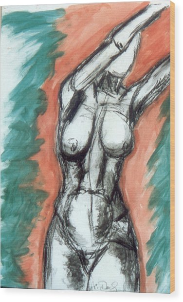 Nude Arms Up Wood Print by B and C Art Shop