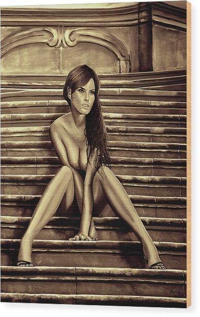 Nude City Beauty Sepia Wood Print