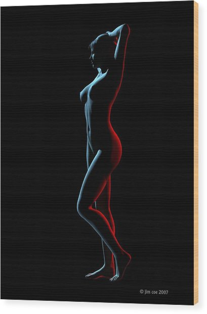 Nude Edge Light 1 Wood Print by Jim Coe