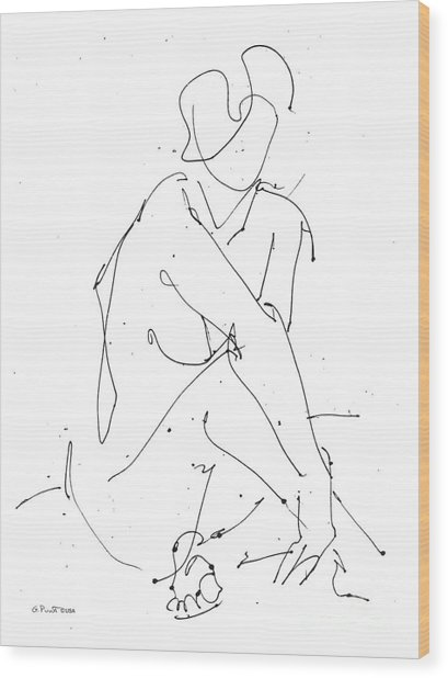 Nude-female-drawing-19 Wood Print