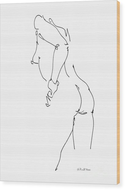 Nude Female Drawings 11 Wood Print