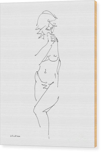 Nude Female Drawings 18 Wood Print
