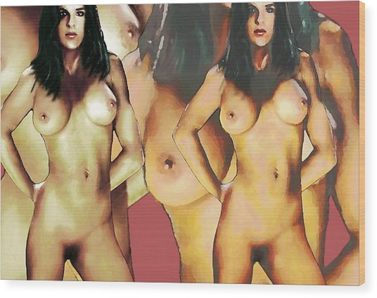 Nude Female Portrait Sara Standing2 Wood Print
