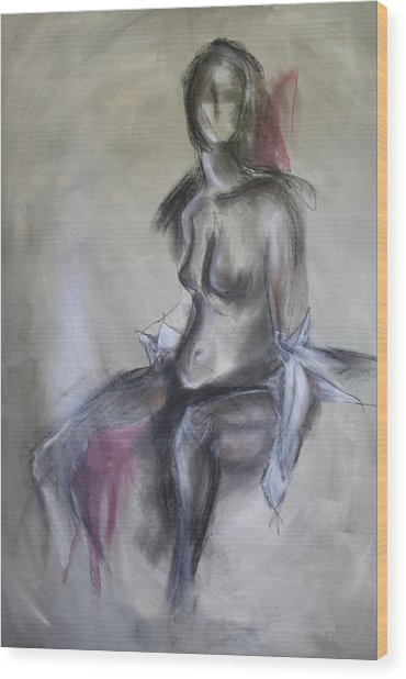 Nude In Black And Red Wood Print by Sandra Taylor-Hedges