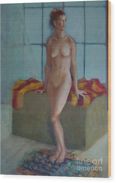 Nude In North Light Copyrighted Wood Print by Kathleen Hoekstra