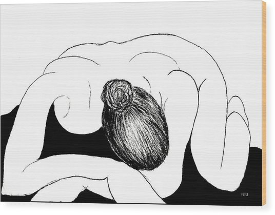 Nude In Supplication Wood Print