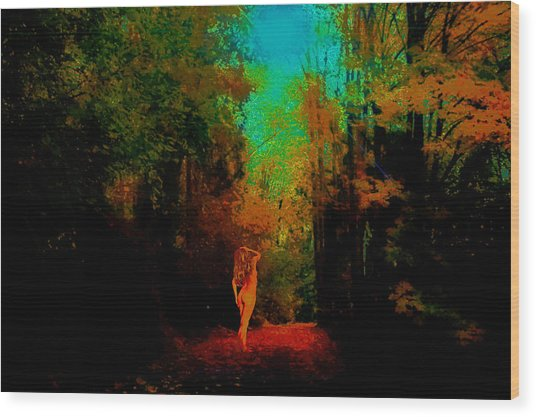 Nude In The Forest Wood Print by Jeff Burgess