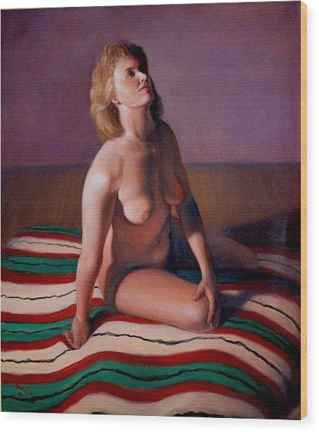 Nude Looking Up Wood Print