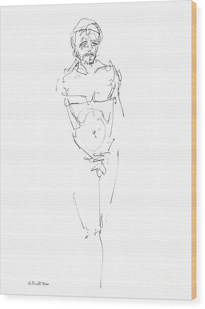 Nude Male Drawings 9 Wood Print