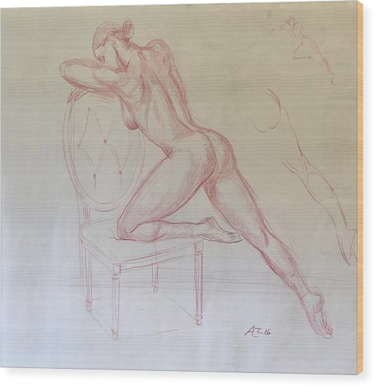Nude On Chair Wood Print by Alejandro Lopez-Tasso