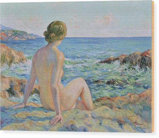 Nude On The Coast Monaco Wood Print