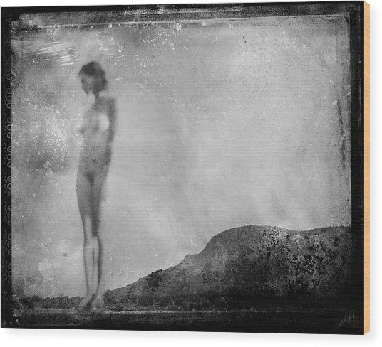 Nude On The Fence, Galisteo Wood Print