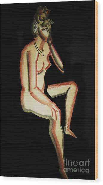 Nude- One Of Three Wood Print by Reb Frost