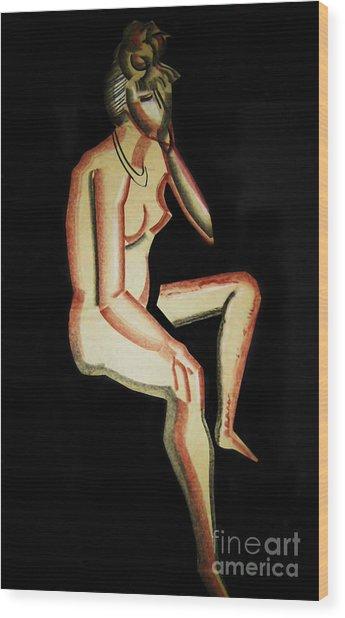Nude- One Of Three Wood Print