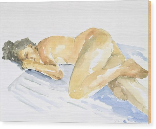 Nude Serie Wood Print by Eugenia Picado