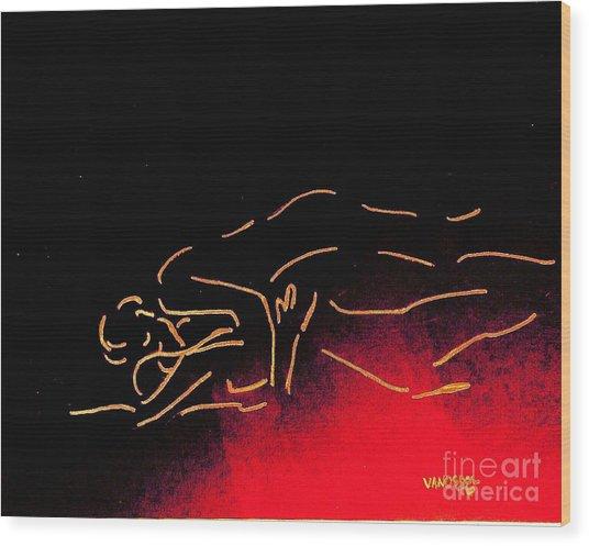 Nude Sleeping Couple Wood Print