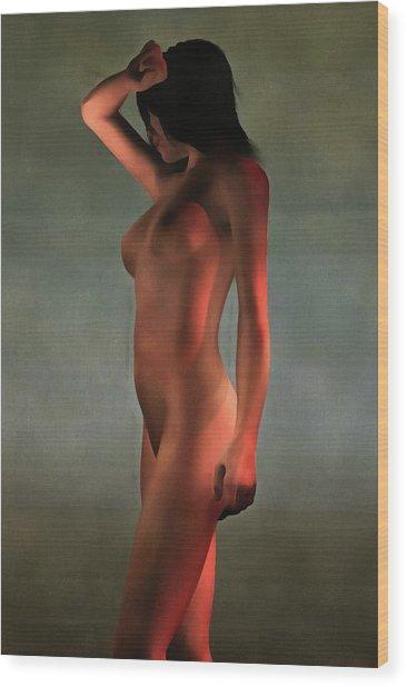 Wood Print featuring the painting Nude Standing by Jan Keteleer