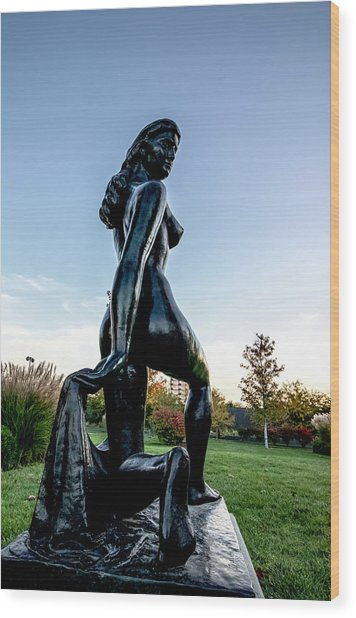 Nude Statue Wood Print
