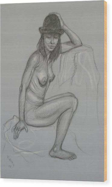 Nude With Hat 1 Wood Print by Donelli  DiMaria