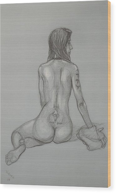 Nude With Tattoo 1 Wood Print by Donelli  DiMaria