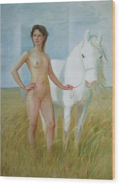 Nude With White Horse Wood Print
