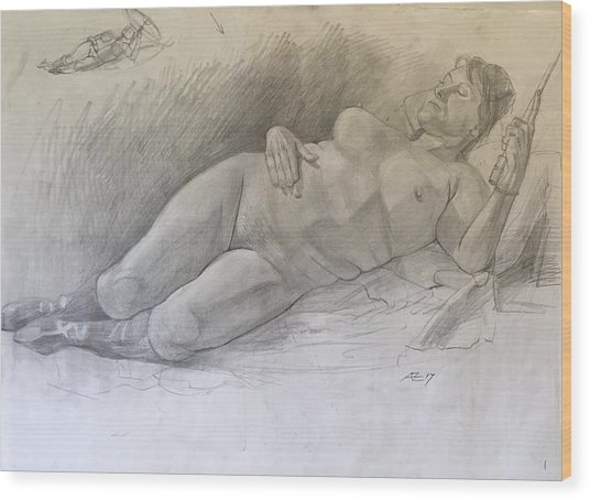 Nude Woman Resting Wood Print by Alejandro Lopez-Tasso